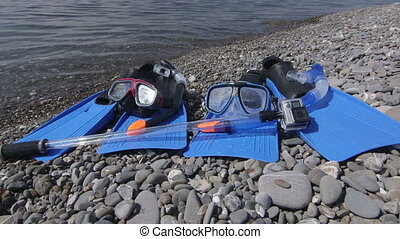 flossen, scuba, masken, wasserdicht, aktiv, fotoapperat,...