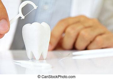 flossing, concept, dents