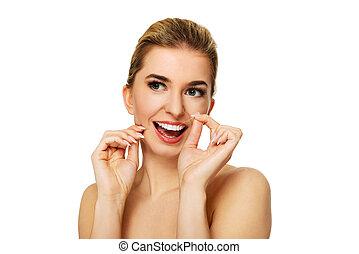 flossing, frau, junger, teeth.
