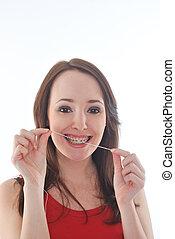 flossing, girl, dent