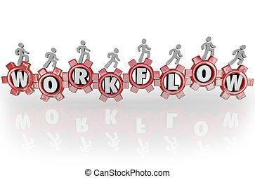 flot travail, gens, sur, engrenages, collaboration, main-d'oeuvre, travailler ensemble