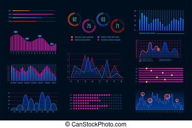 flot travail, hud, diagramme, numérique, interface, hologramme, écran, graphique, diagrammes, futuriste, optional, infographics., vecteur, ensemble, infographic