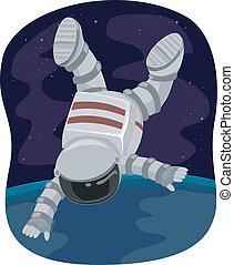 flotar, astronauta, espacio
