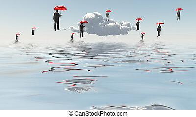 Flotar, hombres, paraguas