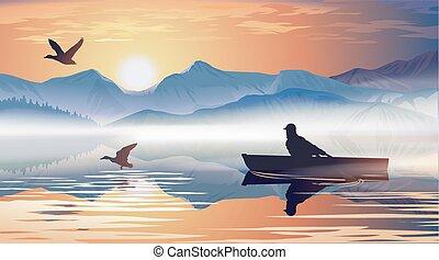 Flotar, lago, barco, hombre
