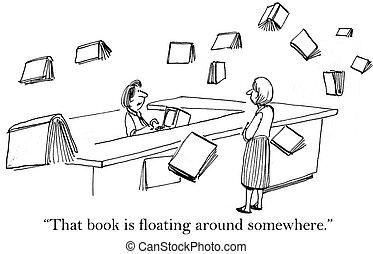 flotar, libro, alrededor, sistema