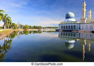 flotar, mezquita, en, kota, kinabalu
