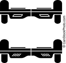 flotar, símbolo, el balancear, tabla, negro, sí mismo