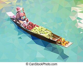 flotar, tailandia, mercado