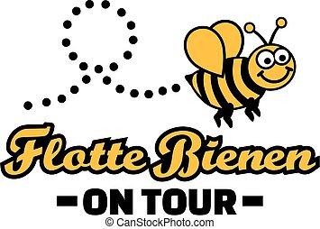 flotte, abeille, sur, tour, -, partie bachelorette, allemand