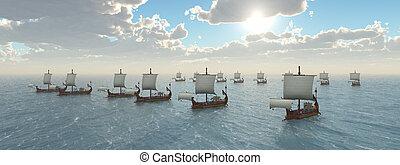 flotte, romain, navires guerre, ancien