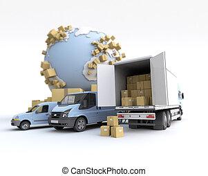 flotte, transport, route