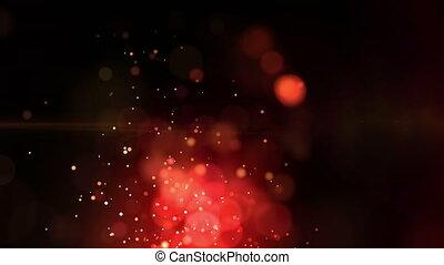 flotter, étoile, rouges, animation, sombre, errant, fond,...