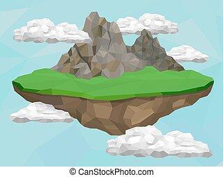 flotter, île, à, montagnes