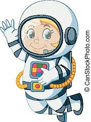 flotter, astronaute, dessin animé