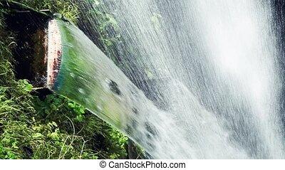 flotter, beau, végétation, chutes d'eau, descendant, eau