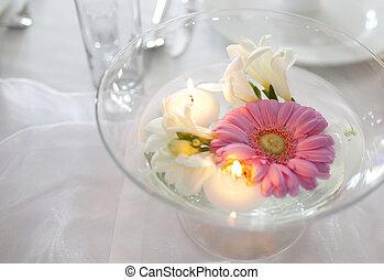 flotter, bougies, et, fleurs