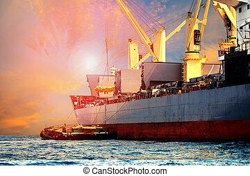 flotter, chargement, navire porte-conteneurs