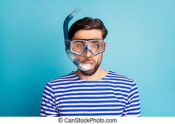 flotter, coloré, masque, chemise, couleur, coraux, fond, tube respiration, photo, type, poisson bleu, émotif, froussard, plongée, rayé, isolé, usure, voir, profond, touriste, marin, sous-marin, beau