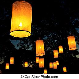 flotter, lanterne, festival