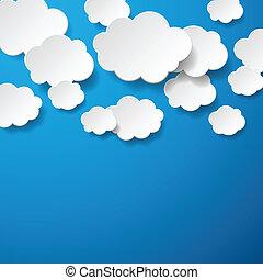 flotter, papier, nuages, fond
