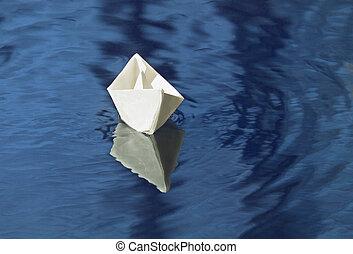 flotter, papier, ruisseau, bateau