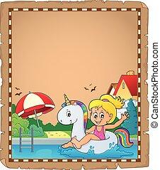 flotter, parchemin, girl, licorne