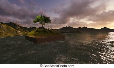 flotter, terre, arbre