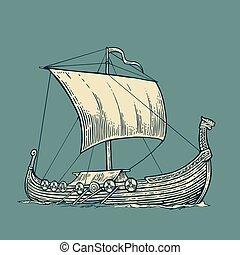 flotter, waves., mer, drakkar