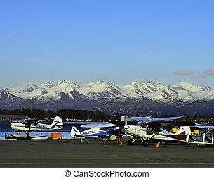 flotteur, avions, dans, alaska