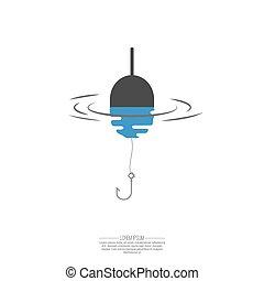 flotteur, ligne pêche, et, hook.