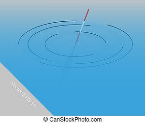flotteur, pour, peche, dans eau