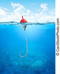 flotteur, sous-marin, ligne, crochet pêche