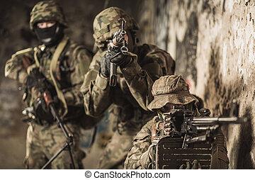 flottor, under, militär, manöver