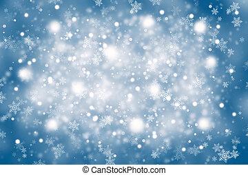 flou, bleu, couleur, résumé, flocons neige