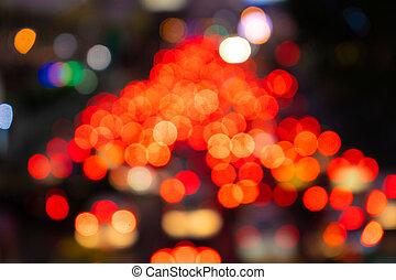 flou, transport, footage., large, confiture, rue., lights., brouillé, traffic., nuit, frein, trafic ville, dense, interchange.
