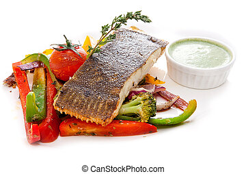 Flounder with vegetables and green sauce - Flounder with ...