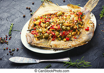 Flounder with vegetables on table - Flounder or flat-fish ...