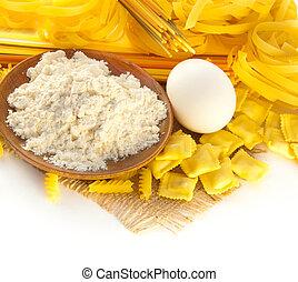 Flour and eggs for preparation of a spaghetti and ravioli, Italian cuisine