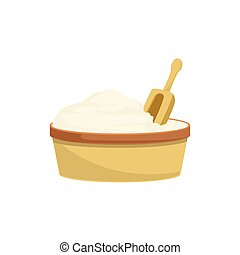 Flour And Scoop Baking Process  Kitchen Equipment Isolated Item