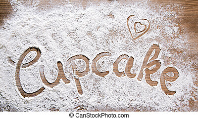 Flour Artwork With Food And Handprints Cupcake