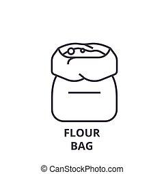 flour bag line icon, outline sign, linear symbol, vector, flat illustration