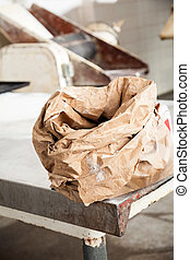 Flour Bag On Table In Bakery