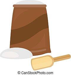 Flour bag vector illustration.