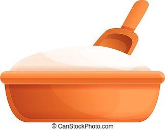 Flour basin icon, cartoon style