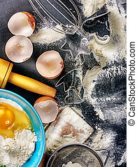 cooking utensils - Flour, eggs, and cooking utensils