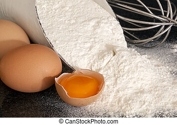 Flour, Eggs and Whisk