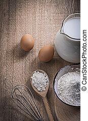 flour eggs corolla milk in jug