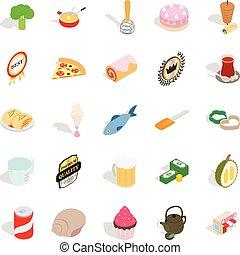 Flour food icons set, cartoon style