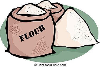 Flour - Illustration of two bags and a heap of flour.